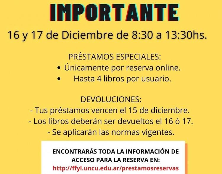 Este 16 y 17 de diciembre abrirá la Biblioteca de FFyL