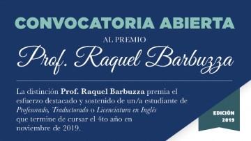 Convocatoria al premio  'Prof. Raquel Barbuzza' edición 2019