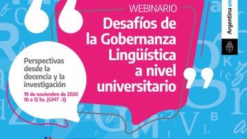 """Invitan a participar del Webinario """"Desafíos de la Gobernanza Lingüística a nivel universitario: perspectivas desde la docencia y la investigación"""""""