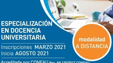 Apertura de la cohorte 2021 de la Especialización en Docencia Universitaria (ESDU)