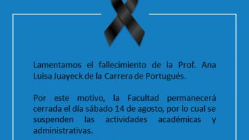 FFyL despide con profundo dolor a la profesora Ana Luisa Juayeck