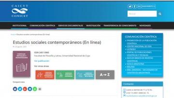La revista Estudios sociales contemporáneos ingresó al Núcleo Básico del CONICET