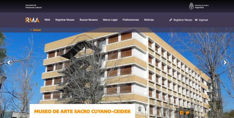 Registro de Museos Argentinos (RMA), dependiente de la Secretaría de Patrimonio Cultural del Ministerio de Cultura de la Nación