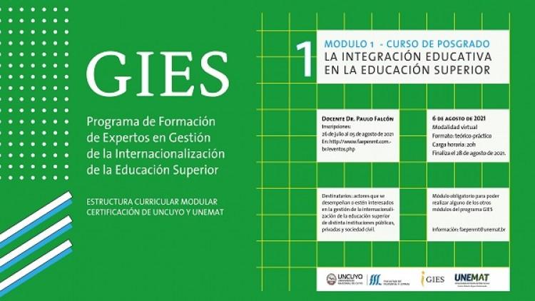 Abren las inscripciones para el Programa de Formación de Expertos en Gestión de la Internacionalización de la Educación Superior (GIES)