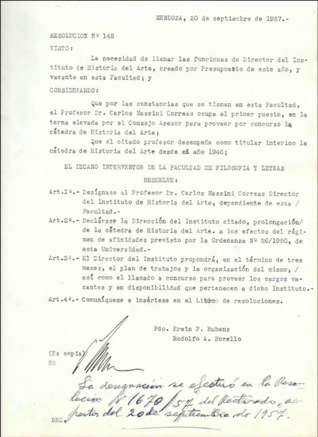 Resol. Nº 148-1957 Designación del Dr. Massini Correa 1º Director del INSTITUTO DE HISTORIA DEL ARTE